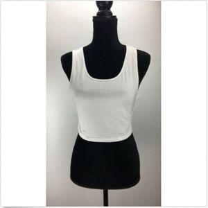 BP. Crop Top XL Sleeveless Scoop Neck Solid White